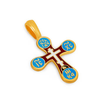 Православный нательный крест из серебра (красно-голубая эмаль) KRSPE0305