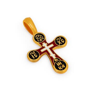 Крест Голгофский из серебра (черно-красная эмаль) KRSPE0306