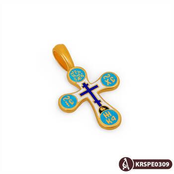 Крест нательный с эмалью серебряный Голгофский KRSPE0309