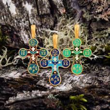 Крест православный с горячей эмалью KRSPE04