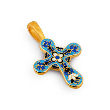 Крест нательный с эмалью сине-голубого цвета «Голгофский» (арт. KRSPE0506)