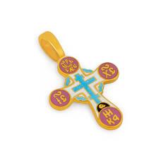 Крестик серебряный женский с эмалью - Голгофский KRSPE0508