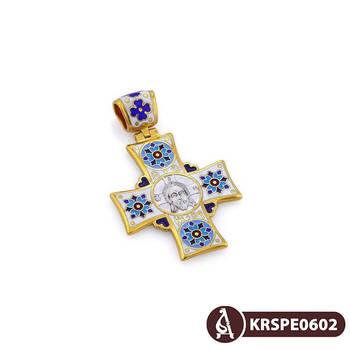 Нательный крестик православный с эмалью - Спас Нерукотворный, св. Николай Чудотворец KRSPE0602