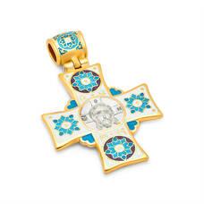 Нательный крестик православный с эмалью - Спас Нерукотворный, св. Николай Чудотворец KRSPE0607