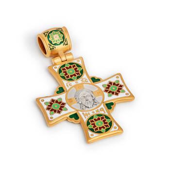 Крестик православный с эмалью «Спас Нерукотворный, Николай Чудотворец» (арт. KRSPE0608)
