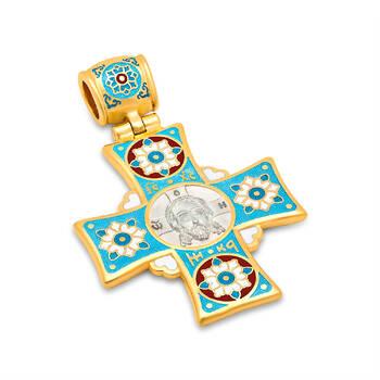 Нательный крестик православный с эмалью - Спас Нерукотворный, св. Николай Чудотворец KRSPE0609