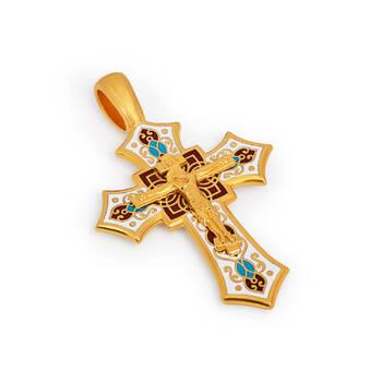 Крест нательный с эмалью - Распятие Господа нашего Иисуса Христа KRSPE0701