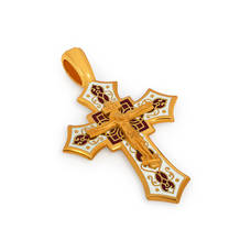 Крест нательный с эмалью - Распятие Господа нашего Иисуса Христа KRSPE07