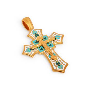 Крест нательный с эмалью - Распятие Господа нашего Иисуса Христа KRSPE0704
