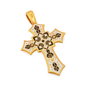Нательный крестик с эмалью черно-белого цвета - Распятие Господа нашего Иисуса Христа KRSPE0705
