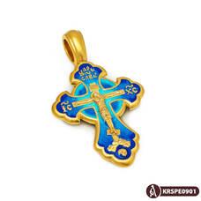 Крест нательный с эмалью - Распятие Господа нашего Иисуса Христа, Хризма KRSPE09