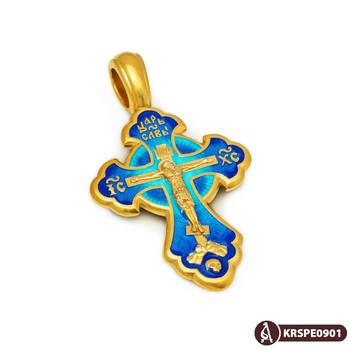 Нательный крестик с эмалью - Распятие Господа нашего Иисуса Христа, Хризма KRSPE09