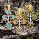 Крест нательный с эмалью - Распятие Господа нашего Иисуса Христа, образ Пресвятой Богородице Умиление Серафимо-Дивеевская KRSPE1005
