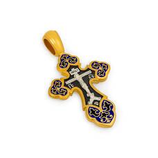 Крест нательный с эмалью - Распятие Господа нашего Иисуса Христа, образ Пресвятой Богородице Умиление Серафимо-Дивеевская KRSPE10