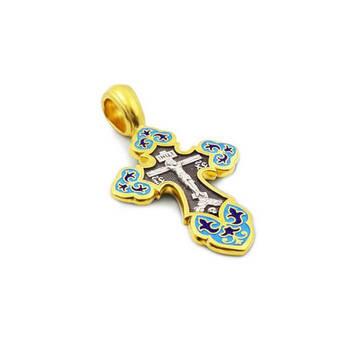 Крест нательный с эмалью - Распятие Господа нашего Иисуса Христа, образ Пресвятой Богородице Умиление Серафимо-Дивеевская KRSPE1003