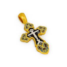 Крест нательный с эмалью - Распятие Господа нашего Иисуса Христа, образ Пресвятой Богородице Умиление Серафимо-Дивеевская KRSPE1009