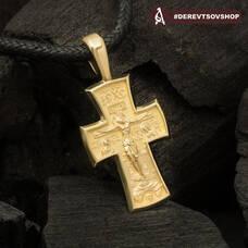 Золотой крест мужской: Распятие Господа нашего Иисуса Христа, Архангел Михаил KRZ0102