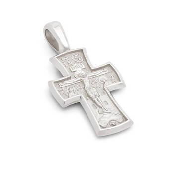 Крест из белого золота мужской - Распятие Господа нашего Иисуса Христа, Архангел Михаил KRZ0103