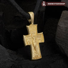 Крестик нательный золотой - Распятие Господа нашего Иисуса Христа, свт. Спиридон Тримифунтский KRZ0202