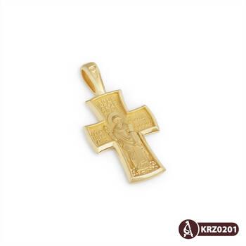 Золотой крестик мужской - Распятие Господа нашего Иисуса Христа, свт. Спиридон Тримифунтский KRZ0202