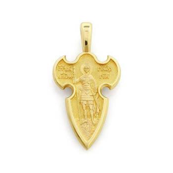 Мужской золотой крест - Распятие Господа нашего Иисуса Христа, вмч. Георгий Победоносец KRZ0402