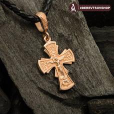 Крестик нательный золотой - Распятие Господа нашего Иисуса Христа KRZ0501