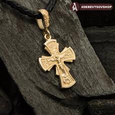 Крестик нательный золотой - Распятие Господа нашего Иисуса Христа KRZ0502