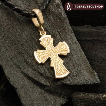 Золотой женский крест - Распятие Господа нашего Иисуса Христа KRZ0502