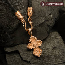 Золотой крестик - Нерукотворный образ Господа нашего Иисуса Христа, свт. Спиридон Тримифунтский KRZ0601