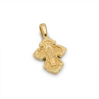 Золотой крестик «Нерукотворный образ Господа нашего Иисуса Христа, свт. Спиридон Тримифунтский» (арт. KRZ0602)