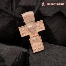 Золотой крестик мужской - Нерукотворный образ Господа нашего Иисуса Христа, Архангел Михаил KRZ0701