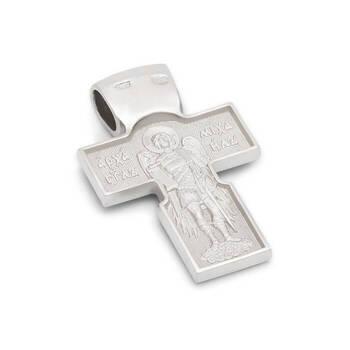 Крест из белого золота мужской - Нерукотворный образ Господа нашего Иисуса Христа, Архангел Михаил KRZ0703