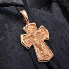 Крестик нательный золотой - Распятие Господа нашего Иисуса Христа, вмч. Димитрий Солунский, Мироточивый KRZ0901