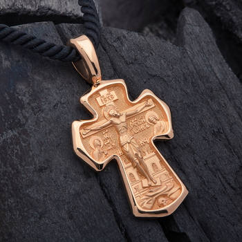 Золотой крестик мужской - Распятие Господа нашего Иисуса Христа, вмч. Димитрий Солунский, Мироточивый KRZ0901