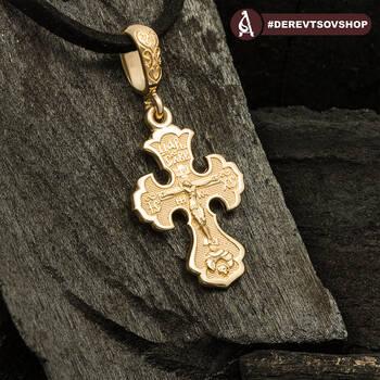 Крестик золотой женский - Распятия Господа нашего Иисуса Христа KRZ1002