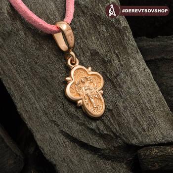 Крестик золотой женский - Распятие Господа нашего Иисуса Христа, Ангел Хранитель KRZ1301