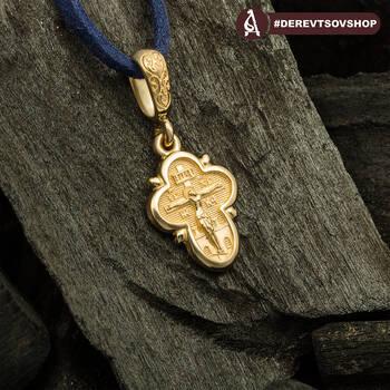 Крестик золотой женский - Распятие Господа нашего Иисуса Христа, Ангел Хранитель KRZ1302