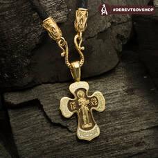 Золотой крестик с эмалью - Спас Вседержитель (Пантократор), Покров Пресвятой Богородицы KRZE0201