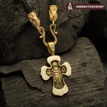 Золотой крестик с эмалью «Спас Вседержитель (Пантократор), Покров Пресвятой Богородицы» (арт. KRZE0201)
