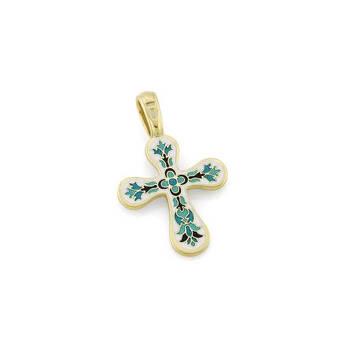 Золотой крестик женский с эмалью - Голгофский KRZE0301