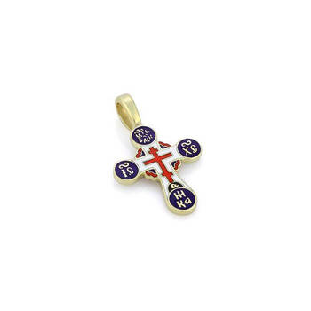Крестик православный золотой с эмалью - Голгофский KRZE0503