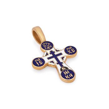 Крестик нательный золотой с эмалью - Голгофский KRZE0504