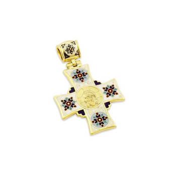 Крест православный золотой с эмалью - Спас Нерукотворный, св. Николай Чудотворец KRZE0602