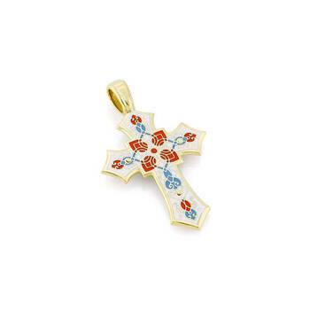 Крестик золотой с эмалью - Распятие Господа нашего Иисуса Христа KRZE0701