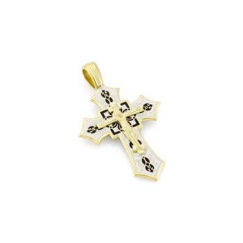 Золотой крестик православный с эмалью - Распятие Господа нашего Иисуса Христа KRZE0702