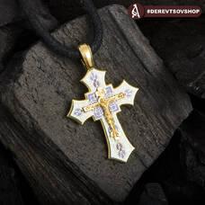 Крестик золотой с эмалью - Распятие Господа нашего Иисуса Христа KRZE0703