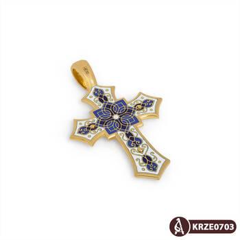 Золотой крестик с эмалью - Распятие Господа нашего Иисуса Христа KRZE0703