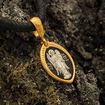 Подвеска образ Святой Ангел Хранитель серебряная с позолотой PISP01