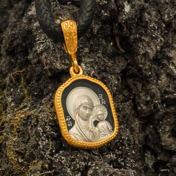 Нательная икона с образом Пресвятой Богородицы Казанская серебряная с позолотой PISP03