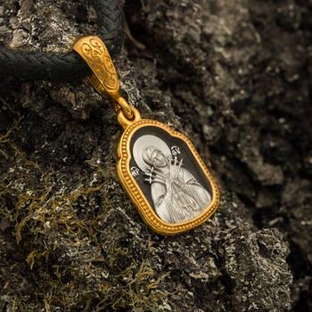 Нательная иконка: образ Пресвятой Богородицы Умягчение злых сердец серебряная с позолотой PISP04